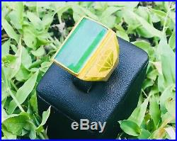 HEAVY RARE Estate SPINACH Green IMPERIAL JADE mans Ring Set In 999.9 PURE GOLD