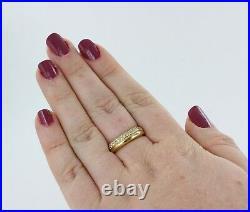 Hallmarked 18ct Gold, 3 row Diamond set Band Ring, Perfect Wedding band REF29