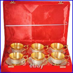 Handmade Pure Brass Gold Plated Mugs Set, Antique Cup Set, 6 PCs, 50 ml each