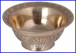 Handmade Pure Brass Serving Tray with Brass Dessert Serving Bowls & Spoon Set