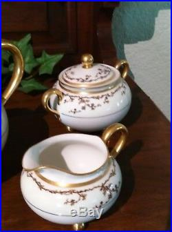 Haviland Limoges Antique Tea Set Tea Pot / Sugar Bowl / Creamer Perfect conditio
