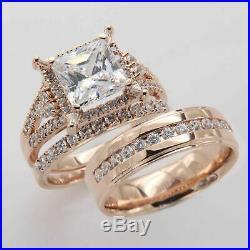 His & Her Princess Diamond 14K Rose Pure Gold Engagement Ring Wedding Trio Set