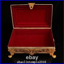 Infrequent China antique Pure copper manual Pinching silk set Gem Relic box
