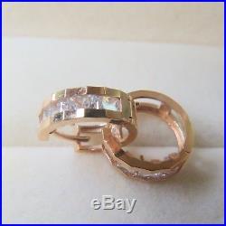 J. Lee Pure 18K Rose Gold Channel Set Zirconia Hoop Earrings 0.47inch Diameter