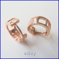 J. Lee Pure 18K Rose Gold Pave Set Cubic Zirconia Hoop Earrings 0.4inch Dia