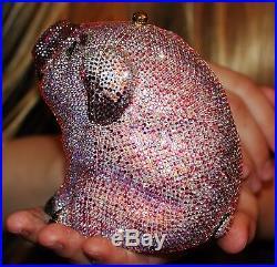 Judith Leiber Perfect Pig Piglet Pink Swarovski Crystal Minaudiere & Pillbox Set