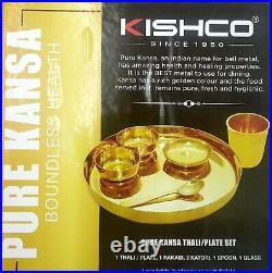 Kishco 100% Pure Kansa Boundless Health Thali / Plate Set Fresh and Hygienic