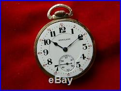 L@@k1917 Hamilton 992, 21j Gold Set, Adj, Perfect D/s Dial, Pocket Watch