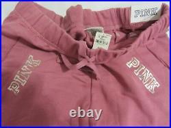 LOT BLING Victoria Secret Pink BEGONIA SWEAT SHIRT HOODIE + BOYFRIEND PANT M Set