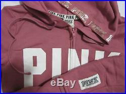 LOT BLING Victoria Secret Pink BEGONIA SWEAT SHIRT HOODIE + BOYFRIEND PANT S Set