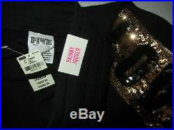 LOT BLING Victoria Secret Pink GOLD Sequin BLACK SWEAT SHIRT HOODIE PANTS SET M