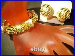 LOVELY, Vtg. BOUCHER SET, SIGNED, NUMBERED, BRACELET & EARRINGS GOLD Plated, PERFECT