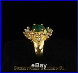 Ladies Emerald And Diamond Ring In. 925 Pure Silver Gold Plated Setting