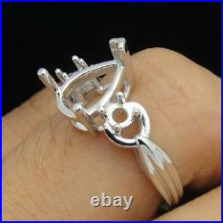 Ladies Perfect Semi Mount Ring Solid 18K White Gold Pear Cut 10X7mm Fine Jewelry