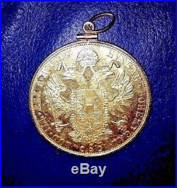 Large PURE GOLD 1915 Austrian Coin PENDANT Bght @ Swiss Bank in 1965Set in 14K