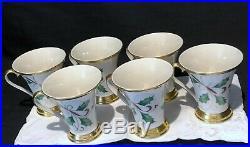 Lenox Holiday Nouveau Mugs Floral Pattern Gold Trim Set Of 6 Mugs Perfect
