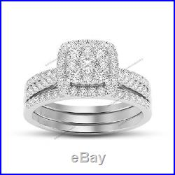 Lovers Ladys Pure Round VVS1 Diamond Wedding 2 pcs Bridal Ring Set White Gold FN