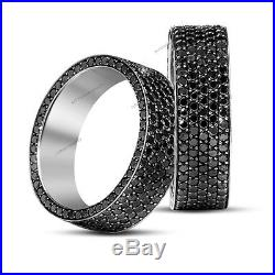 Men's Jewlery In Pure 925 Silver Band With AAA Lab Diamond In Pave Setting
