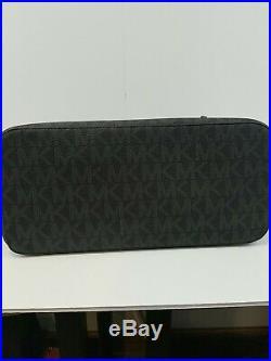 Michael Kors Jet Set Travel Zip Top Black Signature Tote Bag Perfect Condition