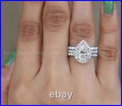 Moissanite Trio Set Engagement Ring Pure 14K White Gold 3 CT Pear Cut Excellent