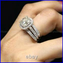 Moissanite Trio Set Engagement Ring Pure 14k White Gold Certified 3.50CT Cushion