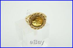 My Own Guardian Angel. 9999 Pure Gold Coin Ring 14K Yellow Gold Setting Size 6.5