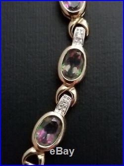 Mystic topaz bracelet set in 14k pure gold