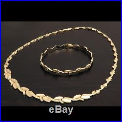 NEW Women's Leaf Necklace and Matching Tennis Bracelet Set Pure 14K Yellow Gold
