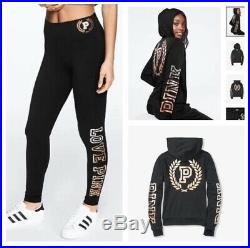 NWT VS PINK Perfect Full-Zip Hoodie Black Gold Ombre Bling & Leggings Set S
