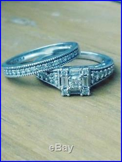 Natural diamond double wedding ring set size 6.5 pure 10k gold