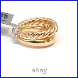 New DAVID YURMAN Pure Form Set 2 Stack Rings in 18K Gold Smooth & Cabled Size 6