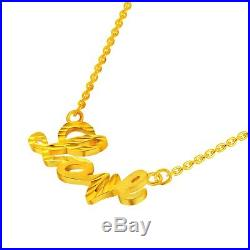 New Fine Pure 999 24K Yellow Gold Chain Set Women O Link Heart Necklace 18inch