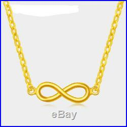 New Fine Pure 999 24K Yellow Gold Chain Set Women O Link Necklace 16.5inch