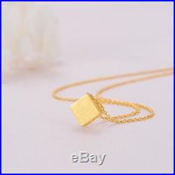 New Fine Pure 999 24K Yellow Gold Chain Set Women O Link Square Necklace 18inch