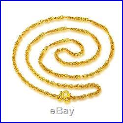 New Fine Pure 999 24K Yellow Gold Chain Set Women Unique Necklace 17inch