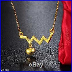 New Fine Pure 999 24K Yellow Gold Chain Set Women's O Link Heart Necklace