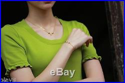 New Fine Pure 999 24K Yellow Gold Chain Set Women's O Link Necklace 18inch