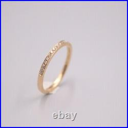 New Pure 18K Rose Gold Channel set Diamonds Women's Ring Size 5.75