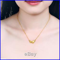 New Pure 999 24K Yellow Gold Chain Set Women O Link Fish Necklace 17-18inch