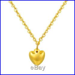 New Pure 999 24K Yellow Gold Chain Set Women O Link Heart Necklace 16.5inch