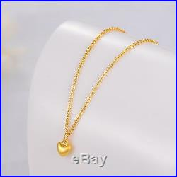 New Pure 999 24K Yellow Gold Chain Set Women O Link Heart Necklace 16inch