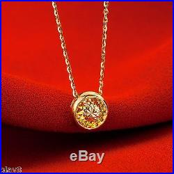 New Pure 999 24K Yellow Gold Chain Set Women O Link Round Necklace 18-18.9inch