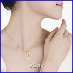 New Pure 999 24K Yellow Gold Chain Set Women's O Link Flower Necklace 15.3inch