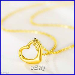 New Pure 999 24K Yellow Gold Women's O Link Chain Set 3D Heart Necklace 18inch