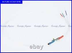 New15sets/lot HiFi 5N Pure Silver turntable Tonearm wire 1.2 gold terminal 508mm