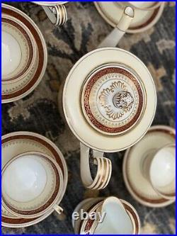 Noritake Rubeta Set Red & Gold Trim 3.75 PERFECT