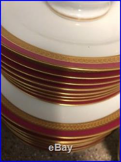 Okura Rare China 90 Piece Tea Set Maroon Burgundy Pure Gold Banding