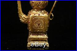 Old Chinese the Qing dynasty Pure copper gilded with gold set Ruby teapot