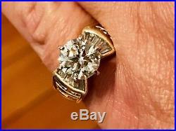 Old European 3.75 diamond 14 KT. SET Of 2 Gold Baguettes Perfect & Platinum Ring