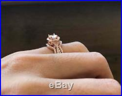 Oval Diamond Solid 10k Rose Real Pure Gold Ladies Engagement Ring Band 3pcs Set